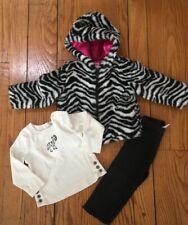 Gymboree 12-24 Zebra Plush Jacket 18-24 Pant And Top Outfit  Infant Girl EUC