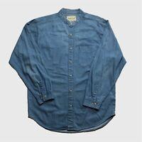 Mens Vintage Denim Grandad Shirt Large Blue Good Condition