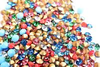 100 Pointed Back Round Crystals Gems Stones Foiled Glass Chatons Rhinestone