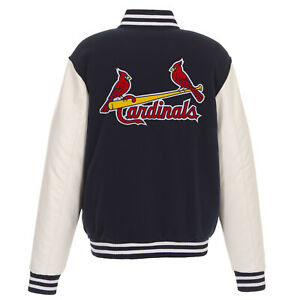 MLB St Louis Cardinals Reversible Fleece Jacket PVC Sleeves Embroidered Logos JH