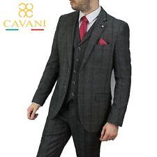 Mens Cavani Peaky Blinders Albert Grey Tweed Check Formal Wedding 3 Piece Suit