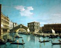 The Rialto Bridge, Venice oil painting wall art Canvas Giclee Print L2361