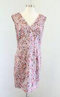French Connection Pink Orange Daisy Floral Print V Neck Sheath Dress Size 10