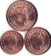 Pièces de 1,2,5cts du Luxembourg 2012.