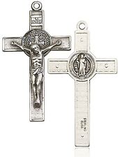 Mens Sterling Silver St. Benedict Crucifix Pendant - Pendant Only