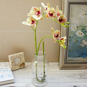 UK 3D Artificial Silk Flowers Plastic Home Printing Butterfly Orchid For Wedding