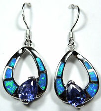 Tanzanite & Blue Fire Opal Inlay Solid 925 Sterling Silver Dangle Earrings