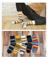 5 pairs Lot Mens Cotton Socks Warm Multi Color Fancy Stripe Casual Dress Socks