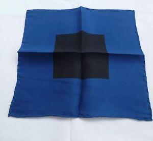 BNWOT Handmade 100% Pure Silk Pocket Square/Hankerchief in Blue & Black Design