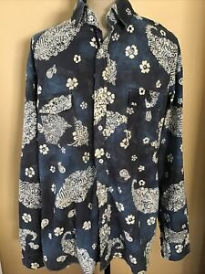 Arnold Zimberg Blue Paisley Floral Long Sleeve Button Front Shirt - Size LARGE