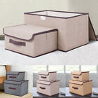 2 Pcs Large & Small Storage Box Fabric Foldable Clothes Basket Folding With Lid