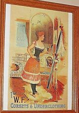 Poster Art Print The W.F. Corsets & Underclothing Advertisement In Wood Frame