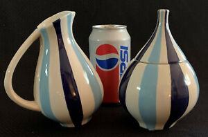 Jonathan Adler Happy Home Blue Stripes Creamer & Sugar Bowl With Lid