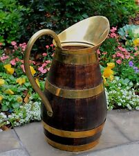 Antique French Country Oak Brass Banded Wine Jug Water Pitcher Umbrella Stand #1