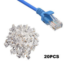 20pcs Crystal Head Rj45 Cat5 Cat5e Modular Plug Plated Network Connector Top
