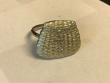 Fishing Basket TG22 Fine English Pewter on a Scarf Ring