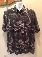 RedHead Bass Pro Shop Fish Fishing Camp Shirt Cotton Short Sleeve Black Sz XL