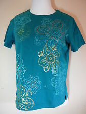 Classic Elements Tee- Shirt Sz S 6-8 Short Sleeve Green Tee Cotton Floral