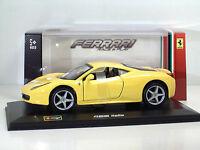 """Bburago 46100 Ferrari 458 Italia """"Gialla""""- Scala 1:32 Race & Play"""