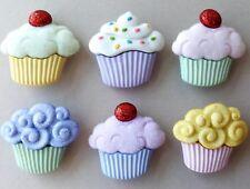 Sweet Treats Grande-Magdalenas Pasteles Muffins Shabby Chic Vestido para arriba Craft Botones