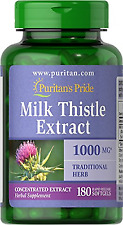 Puritan's Pride Milk Thistle 4:1 Extract 1000 mg (Silymarin) - 180 Softgels