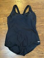 Speedo Womens Swimsuit Black Size 24 Plus PowerFlex Ultraback One-Piece $74 759