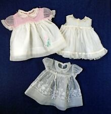 Lot of 3 Vintage Sheer Embroidered Ruffled Baby Dresses Party Look Carol Joy
