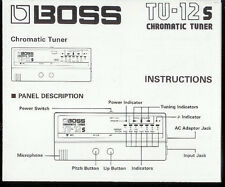 Original Factory Boss TU-12S Chromatic Tuner/Guitar *OWNER'S MANUAL ONLY*