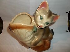 CAT AND BOOT VINTAGE CERAMIC PLANTER VASE - CUTE COWBOY KITTEN , MINT NO CHIPS