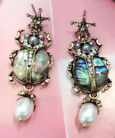 New White Glass Crystal Ear Drop Dangle Stud Ancient Gold long Tassels Earrings