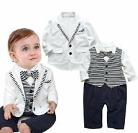 Baby Boy Wedding Christening White Tuxedo Outfit Suits+Jacket Clothes Formal Set