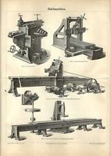 Stampa antica MECCANICA MACCHINE PIALLATRICI 1890 Old antique print