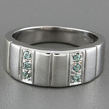 Emerald 9 Carat White Gold Band Fine Rings