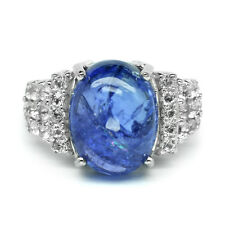8.00 Carat Natural Violet Blue Tanzanite Ring With Zircon in 925 Sterling Silver