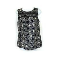 Cabi Blouse Sz S Small Jot Top Polka Dot Black White Sleeveless Style 3079