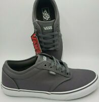 Vans Atwood Canvas Pewter Grey White Skate Sneakers VN000TUY4WV Men's Size 9.5