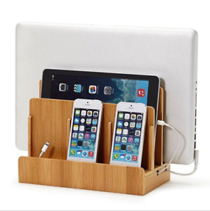 Eco Bamboo Multi-device Organizer Stand Charging Station Dock for Phone&Tablet