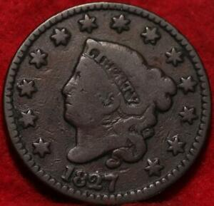 1827 Philadelphia Mint Copper Coronet Head Large Cent