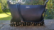 Faith Ladies Designer Black Studded Passport Messenger Side Bag RRP £60