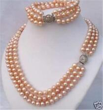 3Rows 7-8mm Pink Akoya Pearl Necklace Bracelet Set