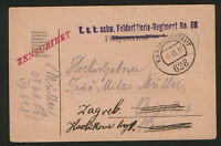 WWI-CROATIA-AUSTRIA-TRAVELD CENSORSHIP FELDPOST POSTCARD-1918.