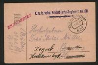 WWI-CROATIA-AUSTRIA-TRAVELD CENSORSHIP FELDPOST POSTCARD-1918.