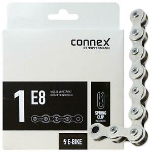 """Connex E-Bike Fahrrad Kette 1E8 1/2""""x1/8"""" E-25 1-fach 132 Glieder Nickel Silber"""