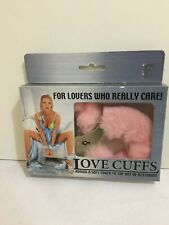 New High Quality Silver Plated Pink Furry Hand Cuffs Open Box