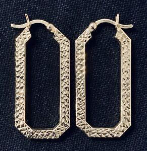 14k Yellow Gold Textured Hoop Hook Stud Earrings 3.3g