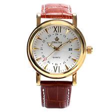ORKINA Brown Genuine Leather Women Lady Quartz Date Wrist Watch Luxury Dress