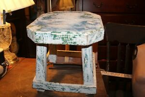 """Vintage 12"""" Tall Primitive Milking Stool White Green Blue Distressed Paint 11x11"""