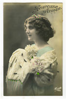1910's Lovely Lady Pretty FRENCH BEAUTY glamour pinup tinted photo postcard
