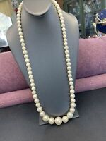 Women's Ladies Necklace Graduated extra long white Vintage faux   pearl 32