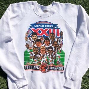 VTG 80s Cincinnati Bengals 1988 Mudge Caricature Art Cartoon NFL Sweat Shirt XL